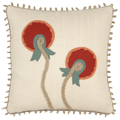 "Red And Champagne Circle Bloom 100% Jute Decorative Pillow 18""X18"""
