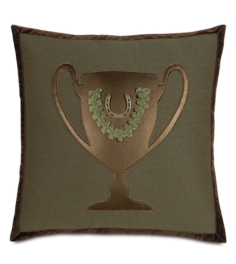 "18"" x 18"" Trophy Winner Equestrian Themed Pillow Cover"