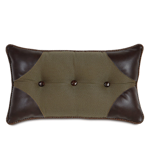 "Olive Classic Button-Tufted Decorative Pillow Cover 13"" x 22"""