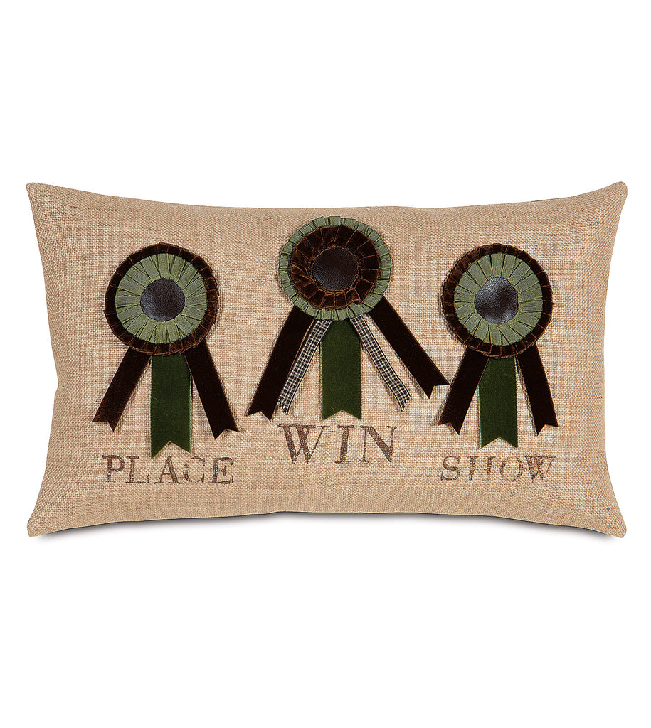 "13"" x 22"" Winning Ribbons Equestrian themed Pillow Cover"
