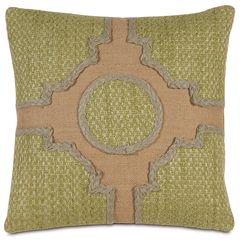 "Moss Green And Wheat Knot Garden Decorative Pillow 18""X18"""