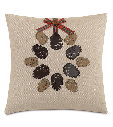 "18"" x 18"" Conifer Cone Decorative Pillow Cover"