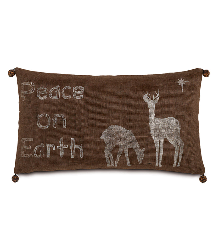 "Peace on Earth Jute Decorative Pillow Cover 15""x 26"""