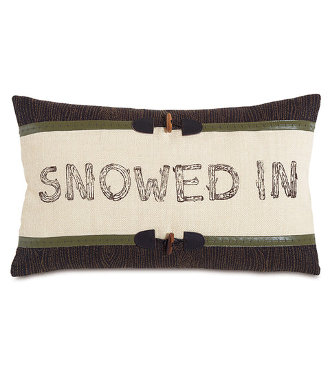 "Snowed In Decorative Burlap Pillow Cover 13""x22"""