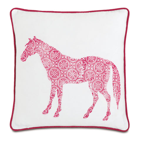 "White And Pink Humble Horse 100% Cotton Decorative Pillow 18""X18"""