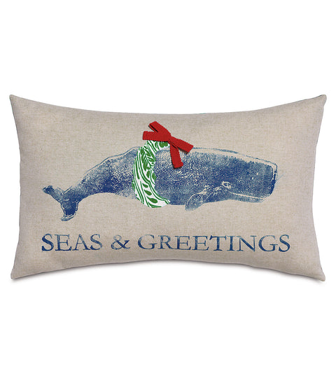 "Merry Whale Decorative Holiday Pillow Cover 13""x22"""