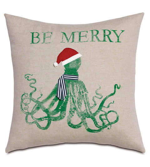 "Festive Beach Creature Decorative Pillow Cover - 2 Designs - 18""x18"""