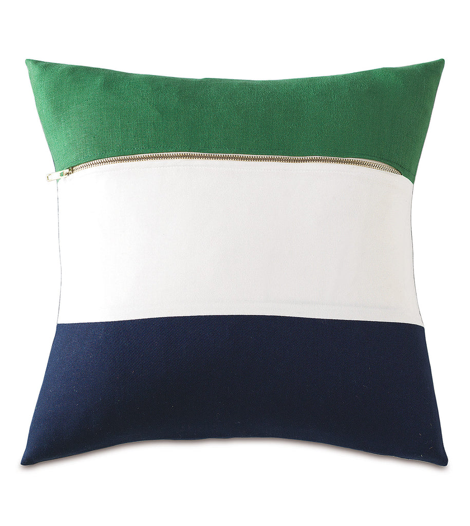 "Striped Preppy Color-Block Decorative Throw Pillow Cover 18"" x 18"""