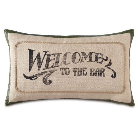 "Beige Welcome To The Bar Decorative Pillow 13""X22"""