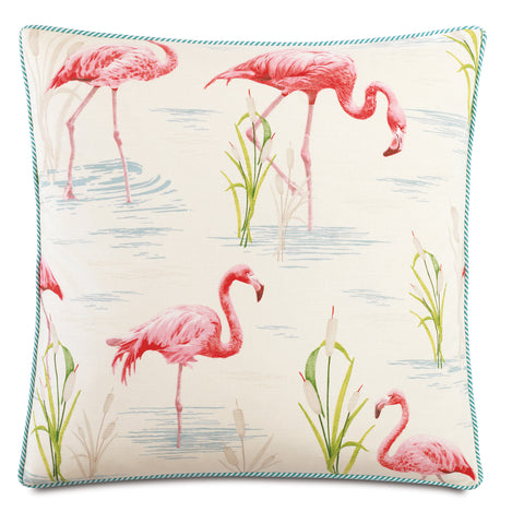 "Tropical Flamingo Decorative Pillow 20""x20"""