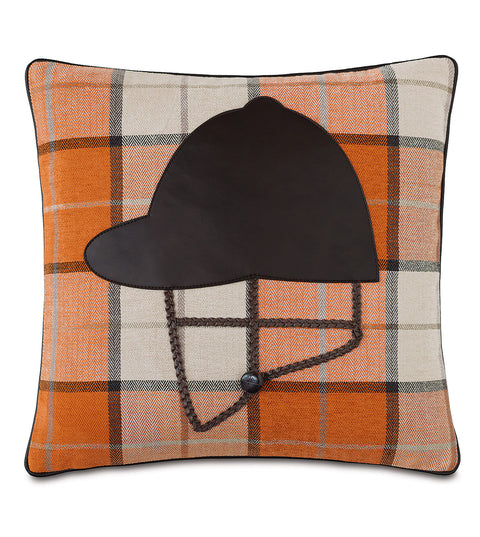 "Equestrian Riding Helmet Decorative Pillow Cover 18"" x 18"""