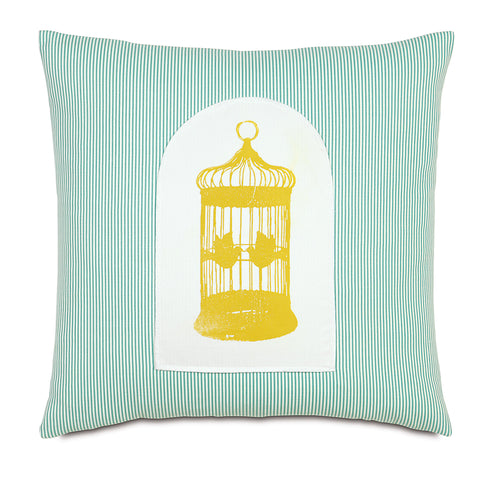 "Teal And Yellow Gilded Cage 100% Cotton Hand Painted Decorative Pillow 20""X20"""