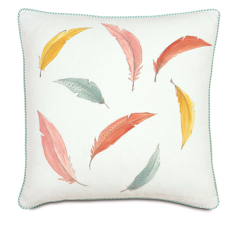 "Flight Of Fancy 100% Cotton Hand Painted Decorative Pillow 18""X18"""