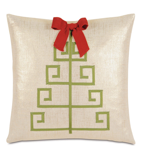 "Green Ribbon Christmas Tree Decorative Pillow Cover 18""x18"""