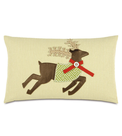 "100% Cotton Reindeer Mcqueen Decorative Pillow Cover 13""x22"""
