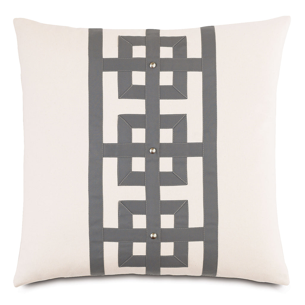 "Ivory Tranquil Row 100% Cotton Decorative Pillow 20""X20"""
