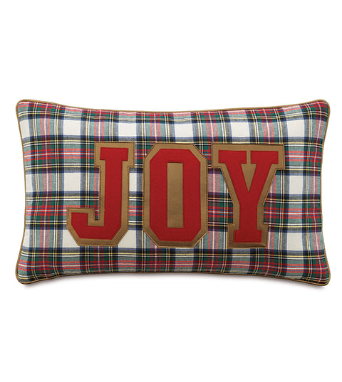 "Oldschool Joy Christmas Plaid Decorative Pillow Cover 13""x22"""