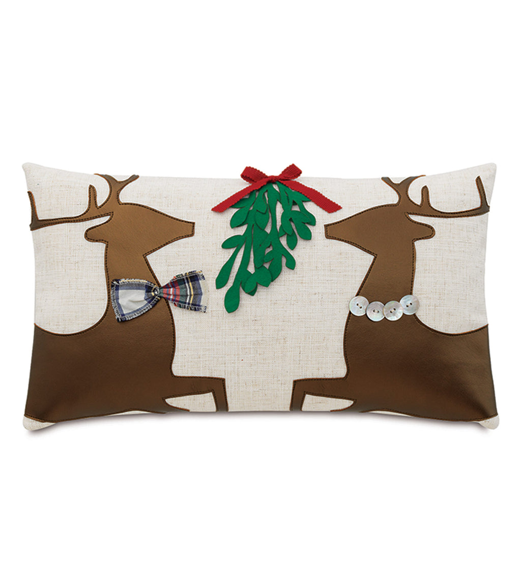 "Christmas Mistletoe Reindeer Applique Decorative Pillow Cover 13"" x 22"""