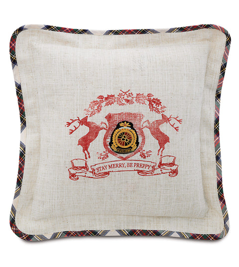 "Stay Merry, Be Preppy Christmas Crest Pillow Cover 18""x18"""
