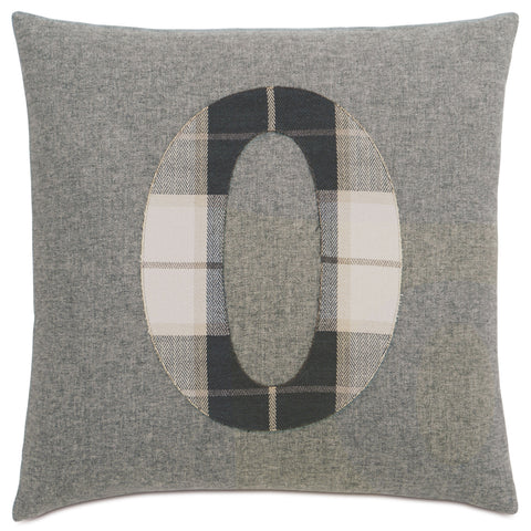 "Solid Number""0"" Laser Cut Applique Decorative Pillow 20""X20"""