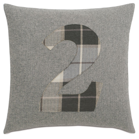 "Solid Number""2"" Laser Cut Applique Decorative Pillow 20""X20"""