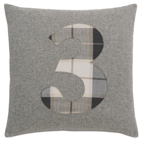 "Solid Number""3"" Laser Cut Applique Decorative Pillow 20""X20"""
