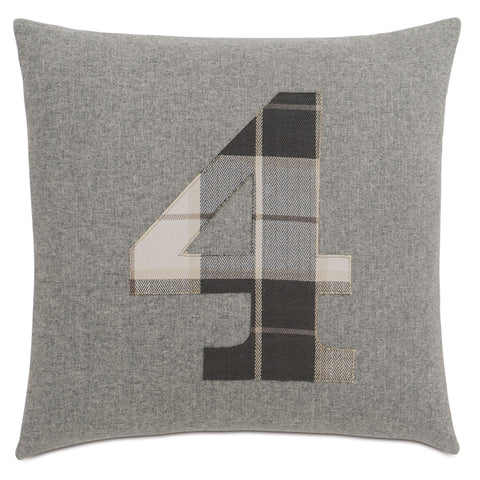 "Solid Number""4"" Laser Cut Applique Decorative Pillow 20""X20"""