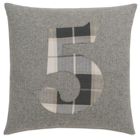 "Solid Number""5"" Laser Cut Applique Decorative Pillow 20""X20"""