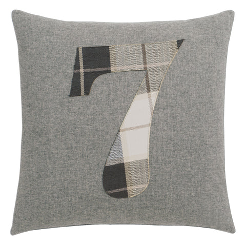 "Solid Number""7"" Laser Cut Applique Decorative Pillow 20""X20"""