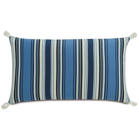 "Blue and Ivory Sail Stripes Decorative Pillow 15""X26"""