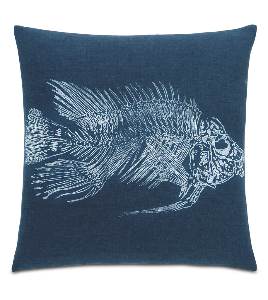 "20"" x 20"" Block Printed White Snapper Decorative Pillow Cover"