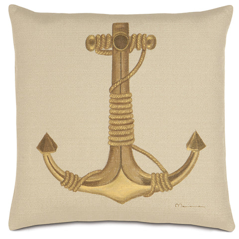 "Nautical Anchor Hand Painted Decorative Pillow 22""x22"""