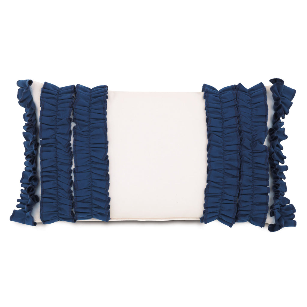 "Ivory and Navy Blue Ruffle It UP Outdoor Pillow Cover 13""x22"""