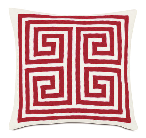 "Meandros Decorative Outdoor Pillow Cover in Red 18""x18"""