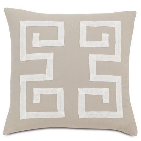 "Ivory Greek Key Trim Pattern Outdoor Pillow Cover 20"" x 20"""