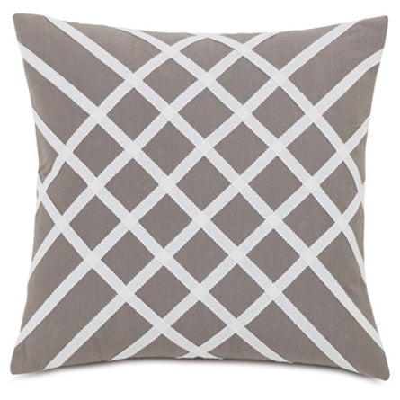 "Ivory Diamond Trim Pattern Outdoor Pillow Cover 20"" x 20"""