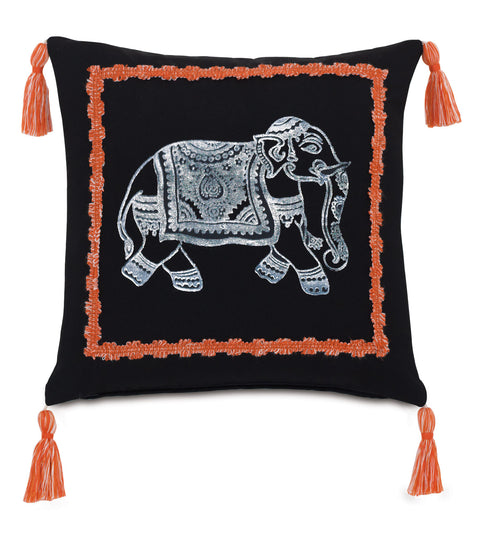 "Block Printed Artisan Elephant Outdoor Pillow Cover 18"" x 18"""