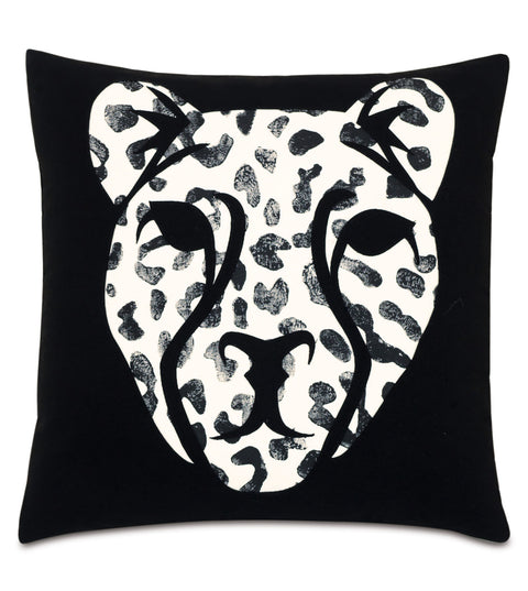 "Laser Cut Léopard Outdoor Artisan Pillow Cover 18"" x 18"""
