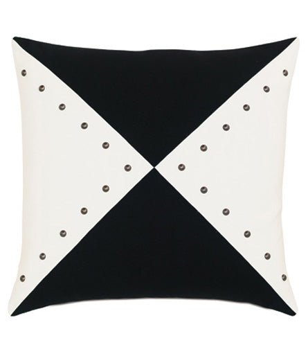 "Geometric Nailhead in Patio Pillow Cover 20"" x 20"""