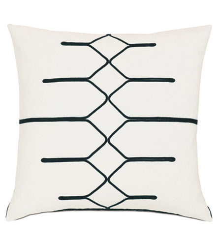 "Black and White Geometric Design Pillow Cover 22"" x 22"""