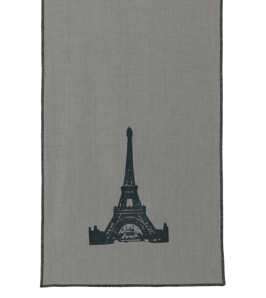 "Paris Eiffel Tower Block Printed Linen Table Runner 15"" x 72"""