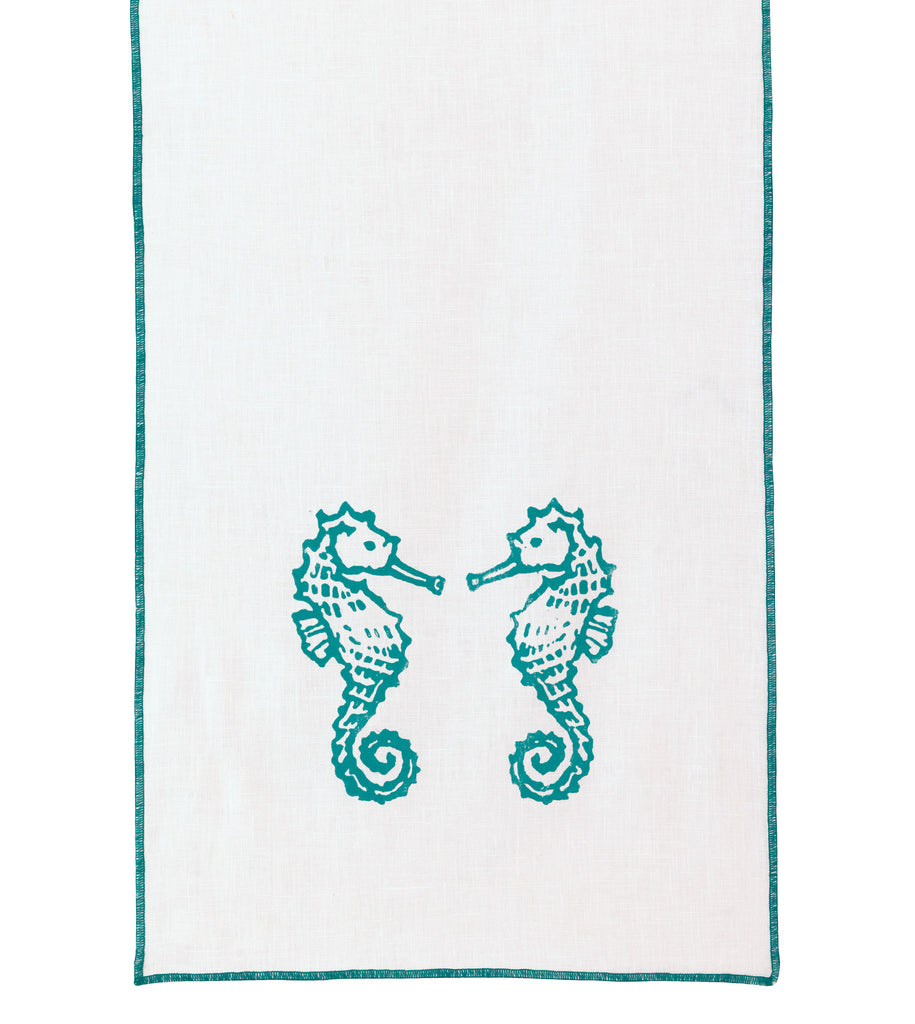 "Blue and White Seahorse Block Printed Linen Table Runner 15"" x 72"""