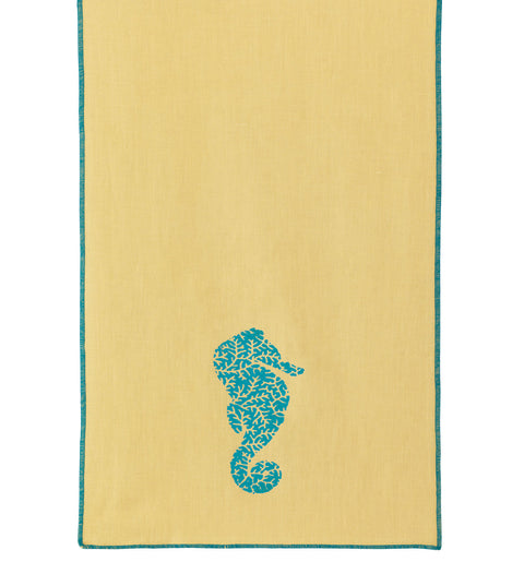 "Blue and Yellow Seahorse Block Printed Linen Table Runner 15"" x 72"""