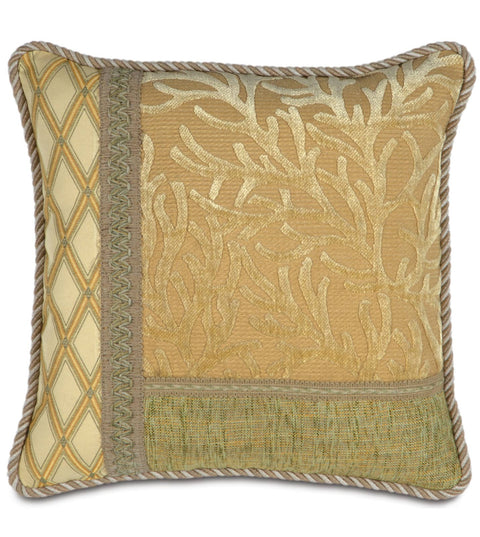 "Augustus Gold Coast Paradise Collage Throw Pillow Cover 16"" x 16"""