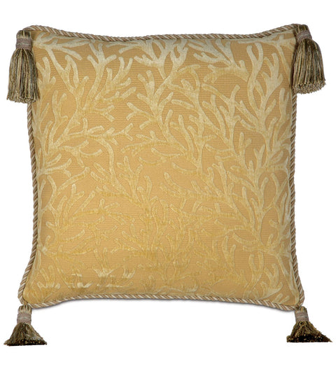 "Augustus Gold Coast Paradise with Tassels Throw Pillow Cover 20"" x 20"""