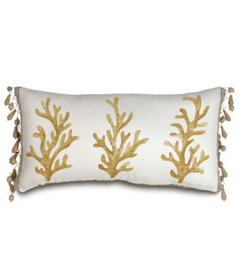 "Augustus Gold Coast Paradise Hand Painted Boudoir Pillow Cover 11"" x 22"""