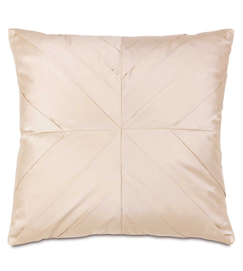 "Ivory Sateen Pleated Throw Pillow Cover 18"" x 18"""
