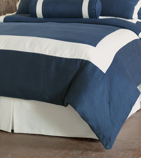 Beverly Linen Duvet Cover in Blue (Queen 88x90)