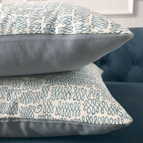 "Loops in Light Blue Decorative Pillow Cover 16"" x 16"""