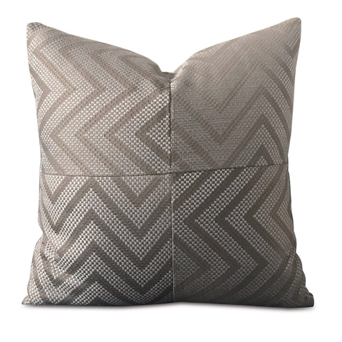 "20"" x 20"" Woven Silver Chevron Decorative Pillow Cover"